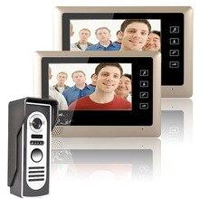 One to Two Video Doorbell 1 Outdoor camera + 2 Indoor Monitors Video Handsfree Intercom Kit System 7 Inch screen CMOS 700TV Line