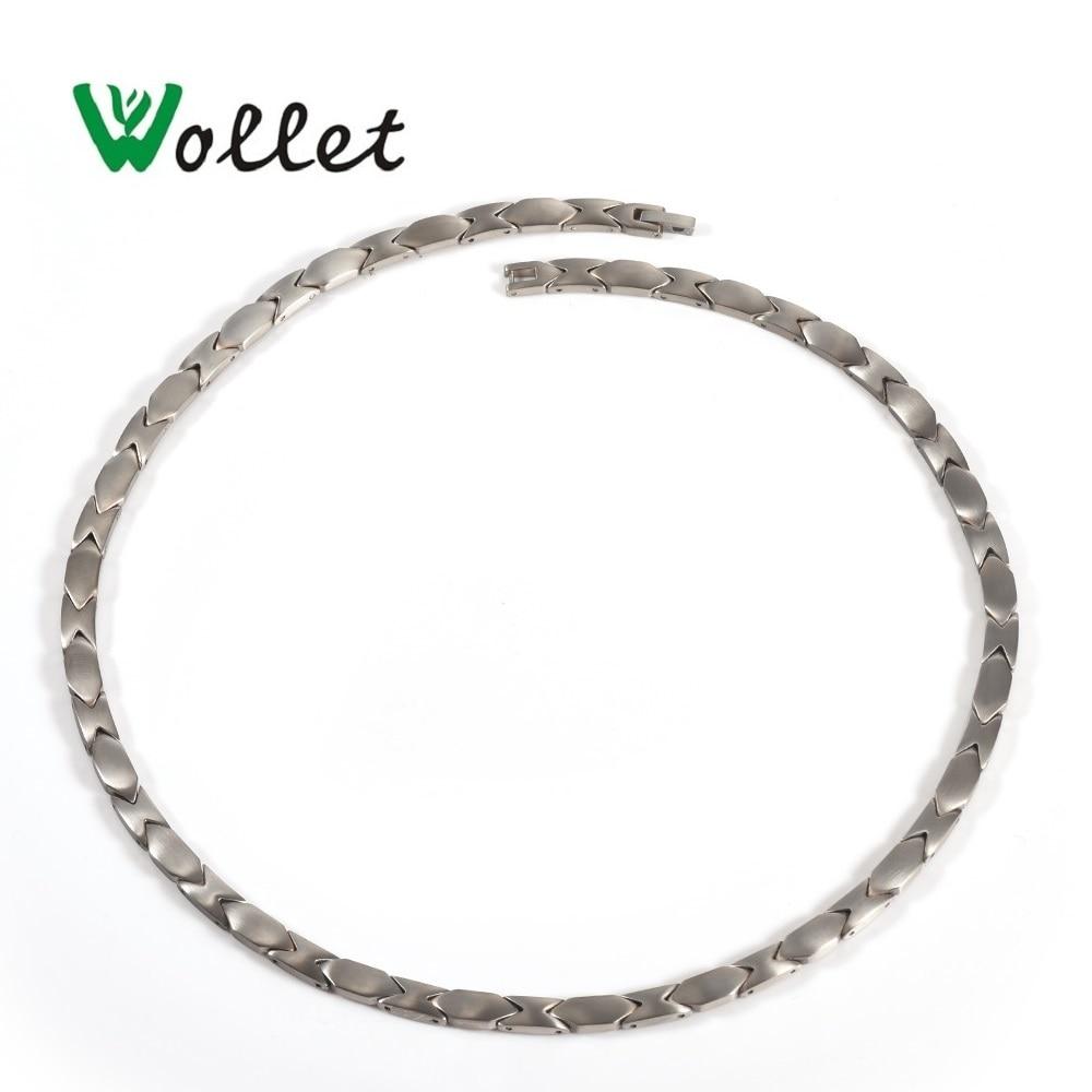 Wollet Health Care Healing Energy Germanium Nano Hematite Titanium Magnetic Necklace Pendant For Women Men Silver Color
