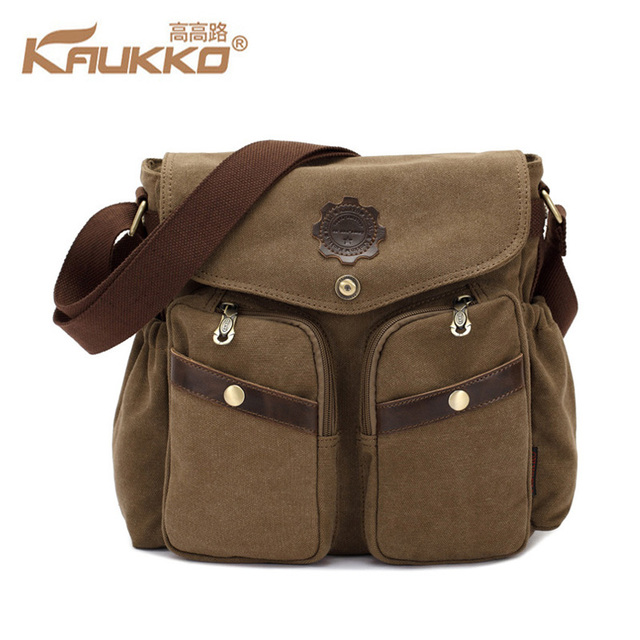 0e552115a8 KAUKKO High Quality KAUKKO Canvas Bag Men s solid cover zipper casual  shoulder school bags men crossbody bag Men Messenger Bags