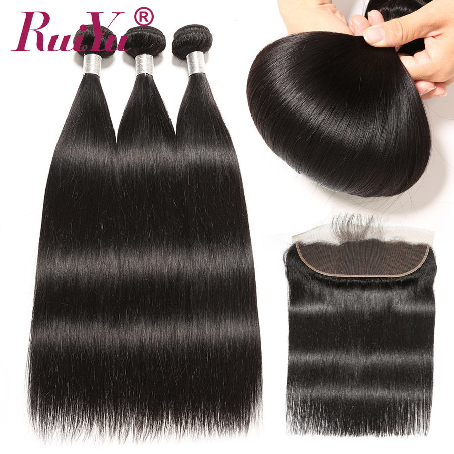 Mongolian Straight Hair Bundles With Closure 3 Bundles With Frontal Closure 13X4 RUIYU Remy Human Hair