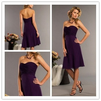 Sweetheart Sleeveless Chiffon Dark Purple Knee Length Short Bridesmaid Dresses