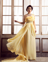 Gratis verzending 2018 geel chiffon crystal bruidenmeisje vestidos formele elegante een schouder jassen bruidsmeisjekleding