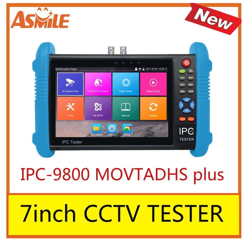 IPC-9800 MOVTADHS plus New 7 inch IPS touch screen cctv tester,1280*800 resolution with H.265&H.264, 4K display via mainstream