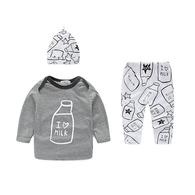bf913a9aac65 Spring Baby Boys Clothing Set Hat T shirt Pant 3pcs Baby Set Letter ...