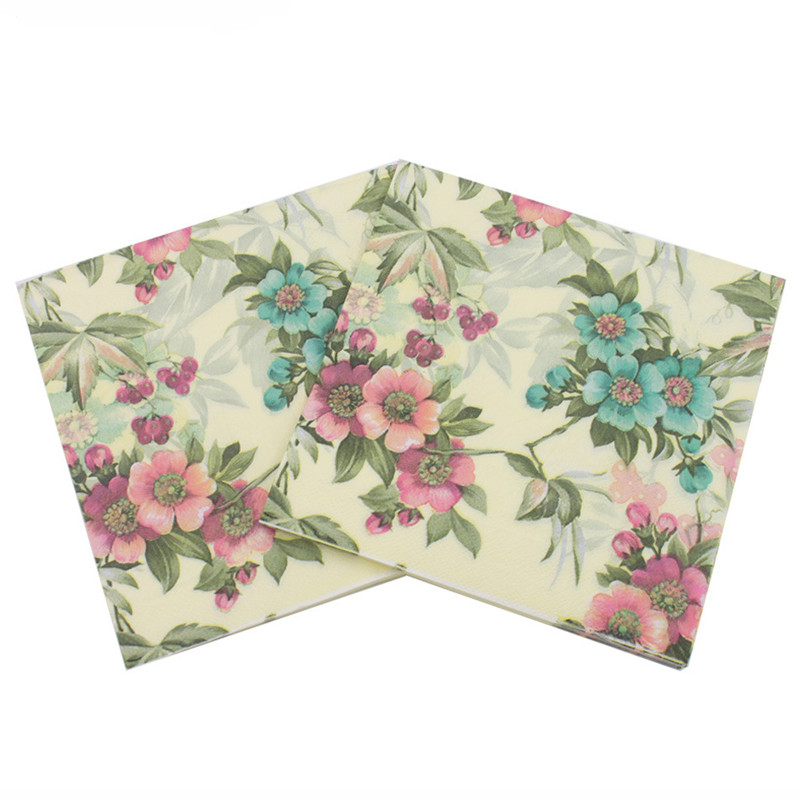 New Vintage Blue Pink Flower Paper Napkin Festive & Party Tissue Napkin Supply Party Decoration Paper 33cm*33cm 20pcs/pack/lot