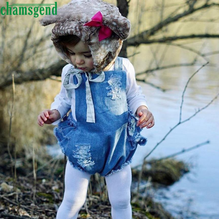 CHAMSGEND Baby girl suspenders are the jeans of a jumpsuit Sleeveless Demin Romper Sunsuit Outfits Clothes may 24 P30