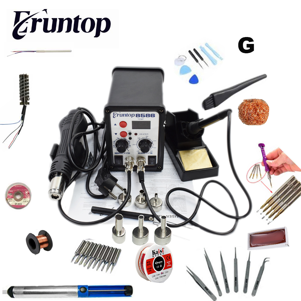 110/220 v 750 watt 2 in 1 SMD Ausrüstung Rework Station Eruntop 8586 Hot Air Gun + Solder eisen + Heizung Element