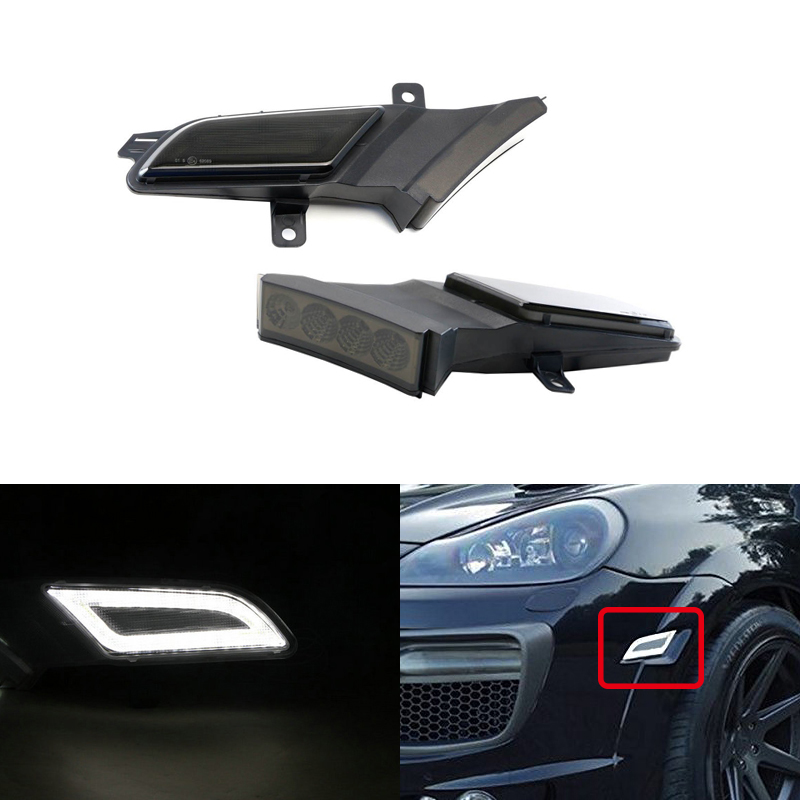 Smoke Amber/White Switchback Led Side Marker Light W/ Position Running Lights For Porsche Cayenne 957 2007 2010 Car Styling