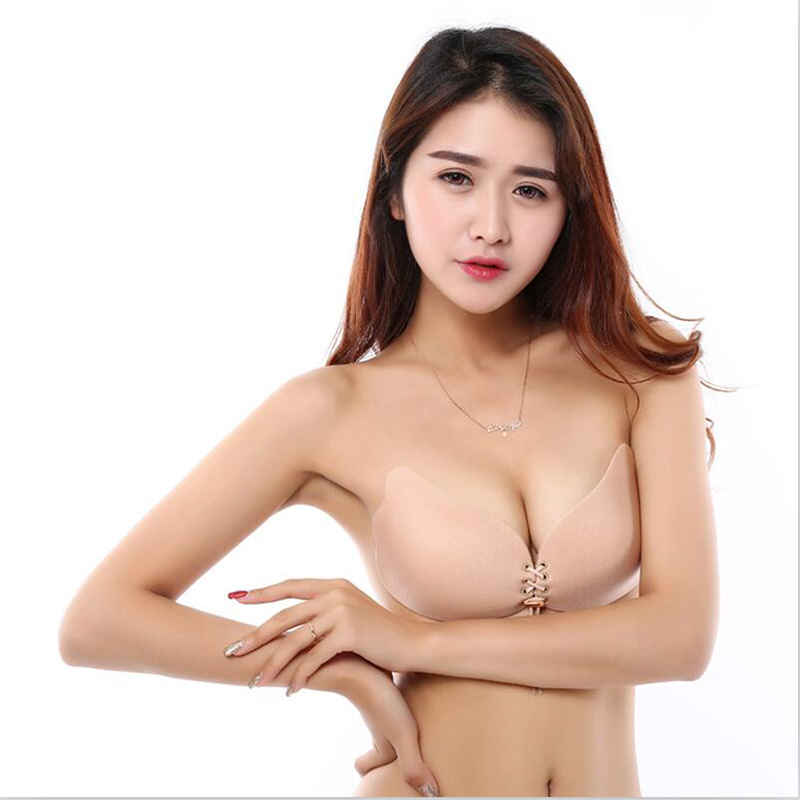 Sexy Strapless Invisible Bra Women Backless Self Adhesive Invisible Bra Push Up Chest Paste Bandage Silicone Solid Bra 5AD41 25