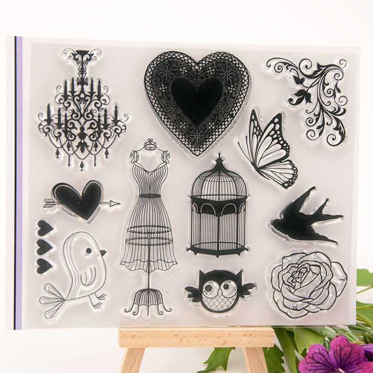 Vintage love heart Scrapbook DIY photo cards account rubber stamp transparent silicone seal handwork art kid gift stamp scrapbook diy photo cards account rubber stamp clear stamp transparent stamp cartoon seal handwork art animal dog duck