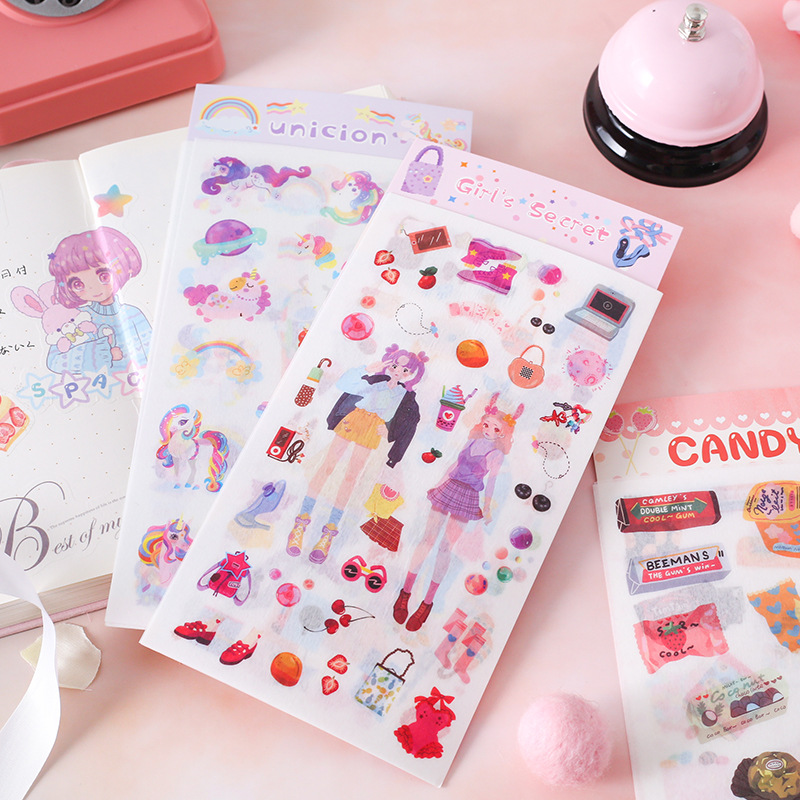 4 Pcs/pack Unicorn Girl Cactus Bullet Journal Decorative Stickers Scrapbooking Stick Label Diary Stationery Album Stickers