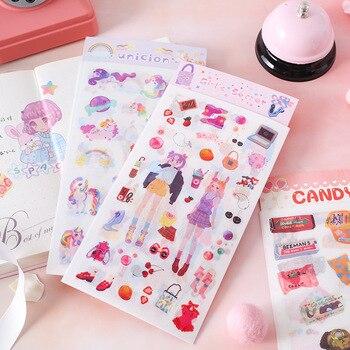 4 unids/pack unicornio niña Cactus cuarderno de recortes con pegatinas decorativas pegatina pegatinas de papel para álbum y diario