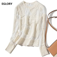 2018 Autumn Winter Fashion Pullover and Sweaters Women Hollow Out Sexy Lace Patchwork Long Sleeve Knitted Pullovers Casual Tops