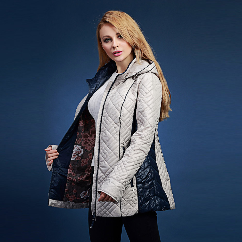 2017 spring new arrival cotton-padded jacket female medium-long thin wadded jacket loose cotton-padded jacket with a hood V305