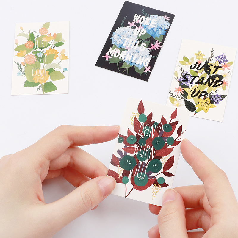 multi-use 5.2*8cm 54pcs Mini Card nice Word hide in flower theme Scrapbooking party invitation cards valentine Christmas use