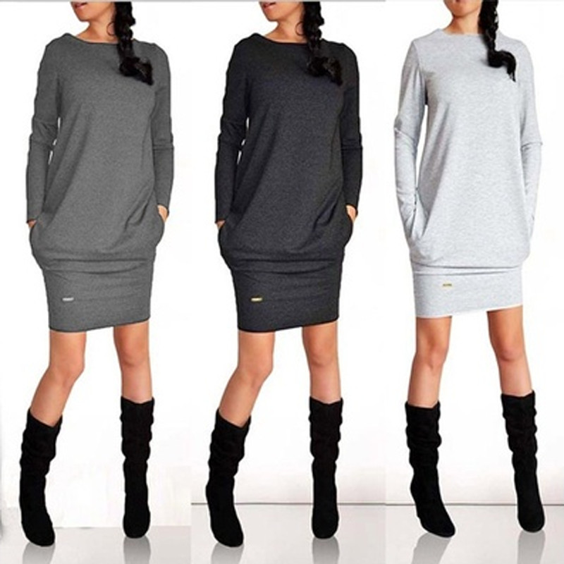 Sexy Dress Women Dresses Autumn Spring 2019 Solid Long Sleeve Dress Slim Mini Bodycon Dress Plus Size Vestidos Female Clothing
