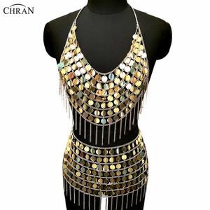 Chran oro lentejuelas sirena vestido cota Bralette arnés collar Festival sujetador cultivo superior ardiente hombre desgaste Sexy Ibiza falda