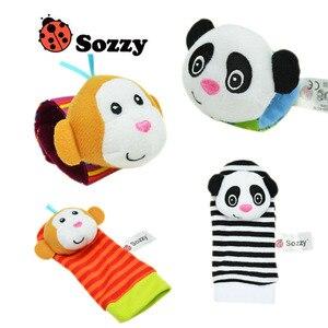 Image 3 - Sozzy chaussettes en peluche pour nouveau né, pour bébé, jouets, jolis motifs animaux, hochet de dessin animé