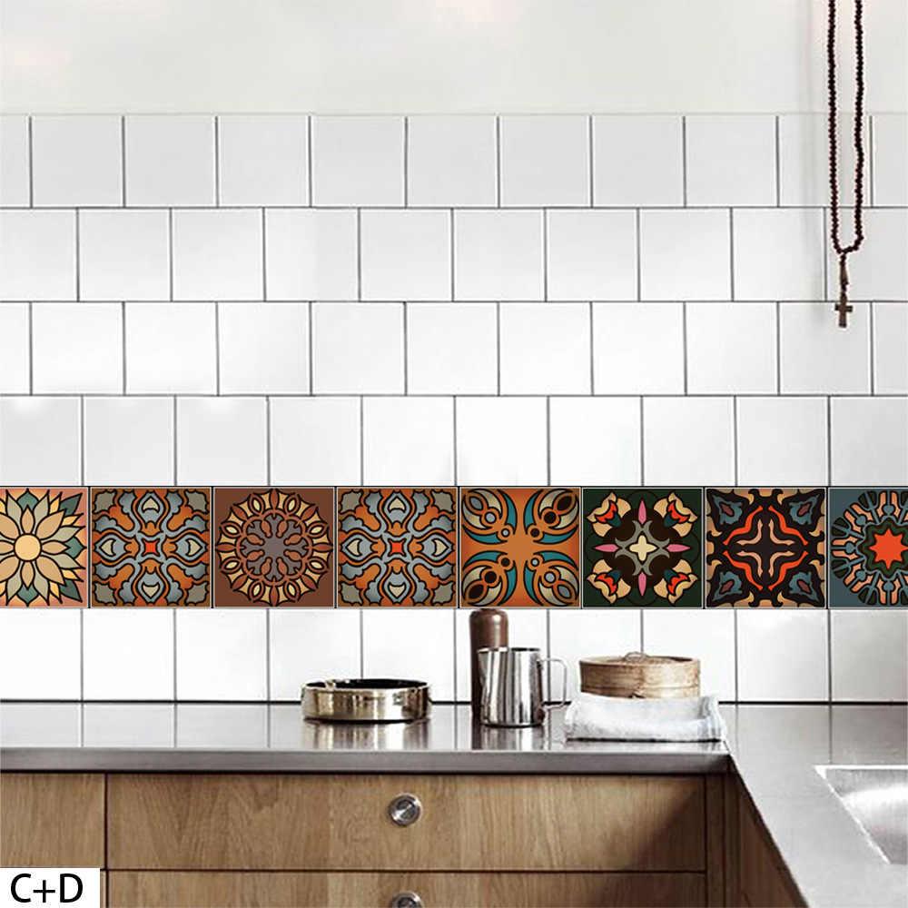Hot Koop Vintage Waterdichte marokkaanse Stijl Behang DIY Verwijderbare Tegel Sticker keuken Slaapkamer Badkamer Kamer 20*100 cm Poster