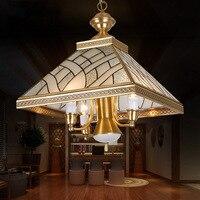 Полный Медь подвесной светильник Медь лампа краткое Современные европейские деревенский моды Спальня огни ресторан лампы подвесной свети