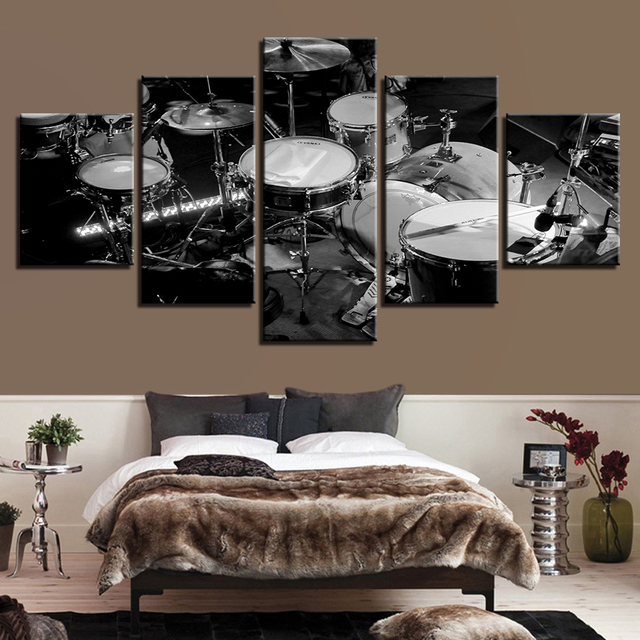 Canvas wall art modular pictures hd prints 5 pieces music instrument paintings black white drums posters