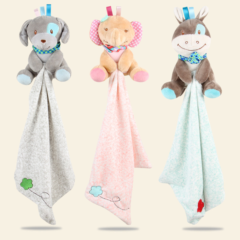 Baby Comforting Towel Baby Multi-function Sleeping Plush Storage Blanket Cartoon Animal Sheep Elephant
