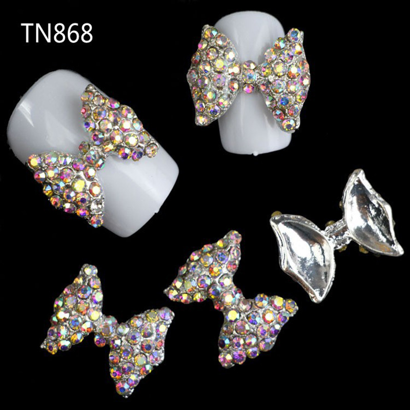 Blueness 10Pcs Colorful Glitter 3D Bows Nail Art Decorations Rhinestones, Alloy Nail Charms For Nail Tool Suppliers TN868 10pcs triangle plastic rhinestones beads crystal nail art sorting trays accessory white nail art tool