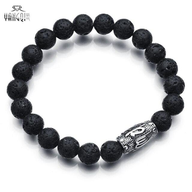 e05640c8a77e 316 серебряные Нержавеющая сталь мусульманский браслет камень из  вулканической лавы черного бисера Череп Браслеты дракона и