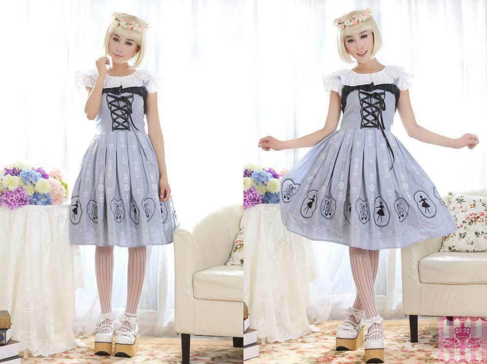 Dress Sale JSK Lolita Cute Lolita Costume Lace Strap Lovely Print Lolita JSK Light Grey