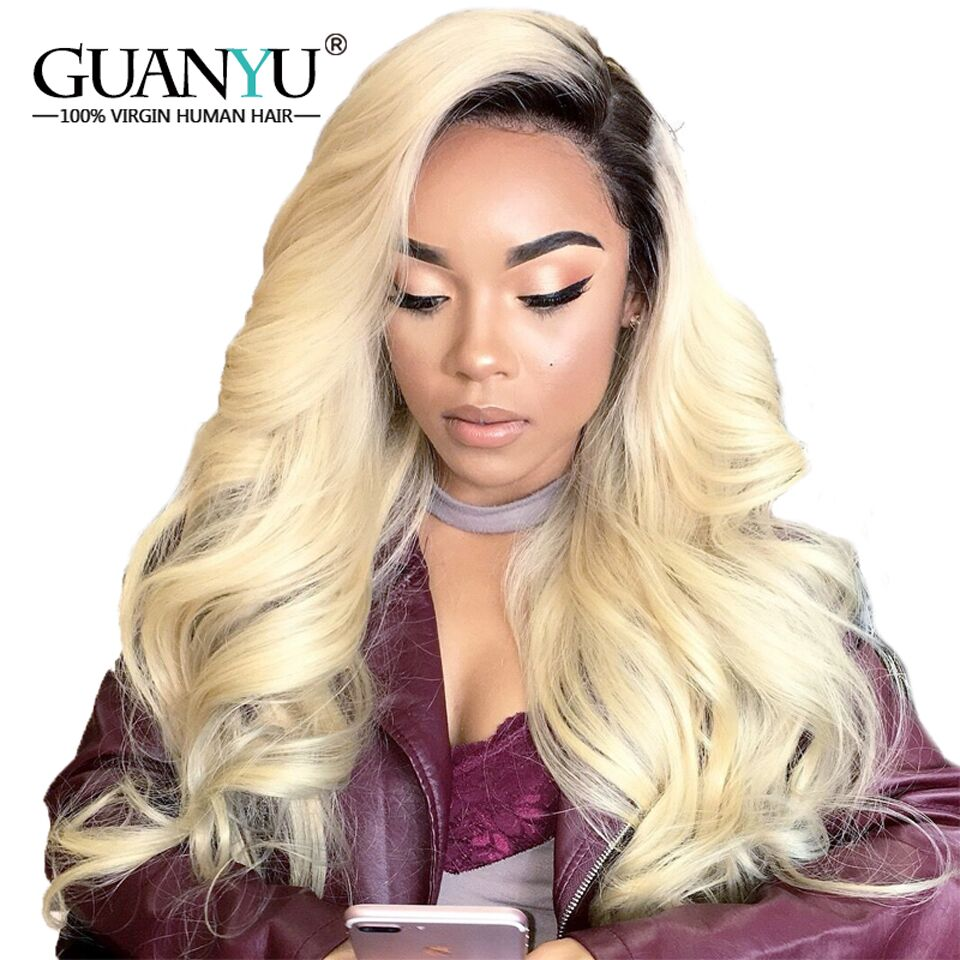 Guanyuhair Peruvian Ombre 1B/613 Blonde Lace Front Wig Body Wave Remy Two Tone Dark Roots Blonde Human Hair Wigs for Black Women