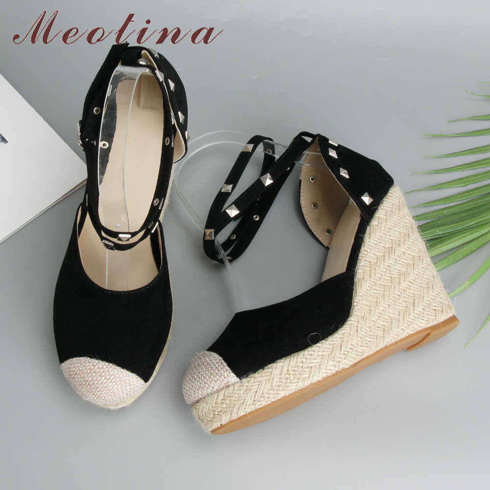 Meotina 여성 Espadrille 샌들 여름 섹시 리벳 플랫폼 웨지 하이힐 보헤미아 앵클 스트랩 파티 신발 플러스 사이즈 43