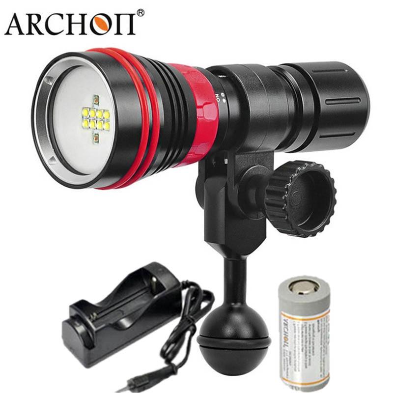 ARCONTE D26VR W32R di Immersione Subacquea LED della Torcia Elettrica Bianco Rosso Luce Video Fotografia Subacquea Torce 2000 Lumen 26650 Batteria