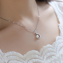 Temperament Simple Artificial Pearl Stars Moon Pendant Necklace Silver Womens Fine Jewelry D30