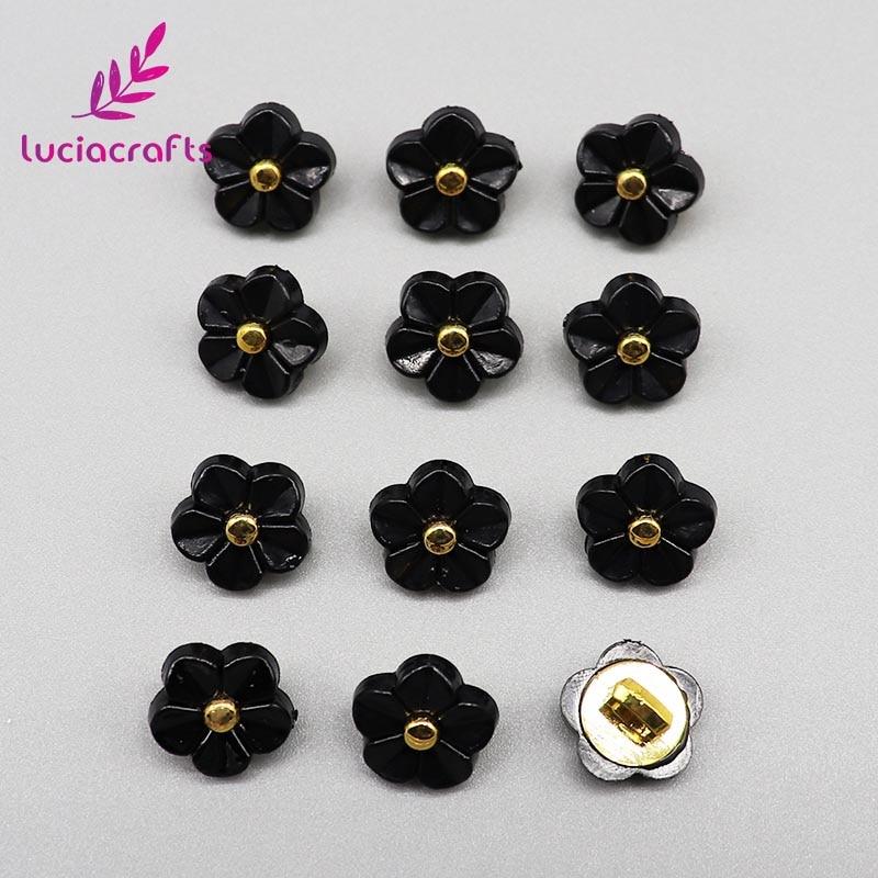 Lucia crafts, 12 шт./лот, 11 мм, цветочные пуговицы, сделай сам, для шитья одежды, пластиковая смола, хвостовик, кнопка, аксессуары для скрапбукинга, E0505 - Цвет: Black