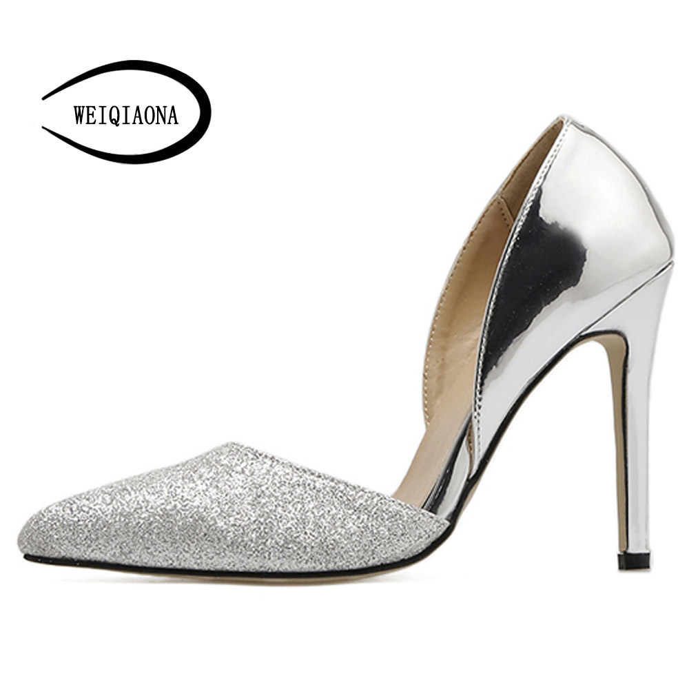 f5e5d1d370fb WEIQIAONA 2018 New Brand Design Bling Luxury Silver Sexy Women Shoes  Pionted Toe High Heels Party Shoes Dress Shoes Ladies Shoes-in Women s  Pumps from Shoes ...