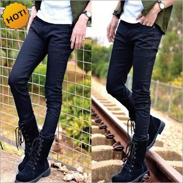 88aa54b42a NEW 2019 Fashion Indoor Slim Fit Solid Black blue Denim Jeans Men Casual pencil  pants teenagers sweatpants pantalon homme