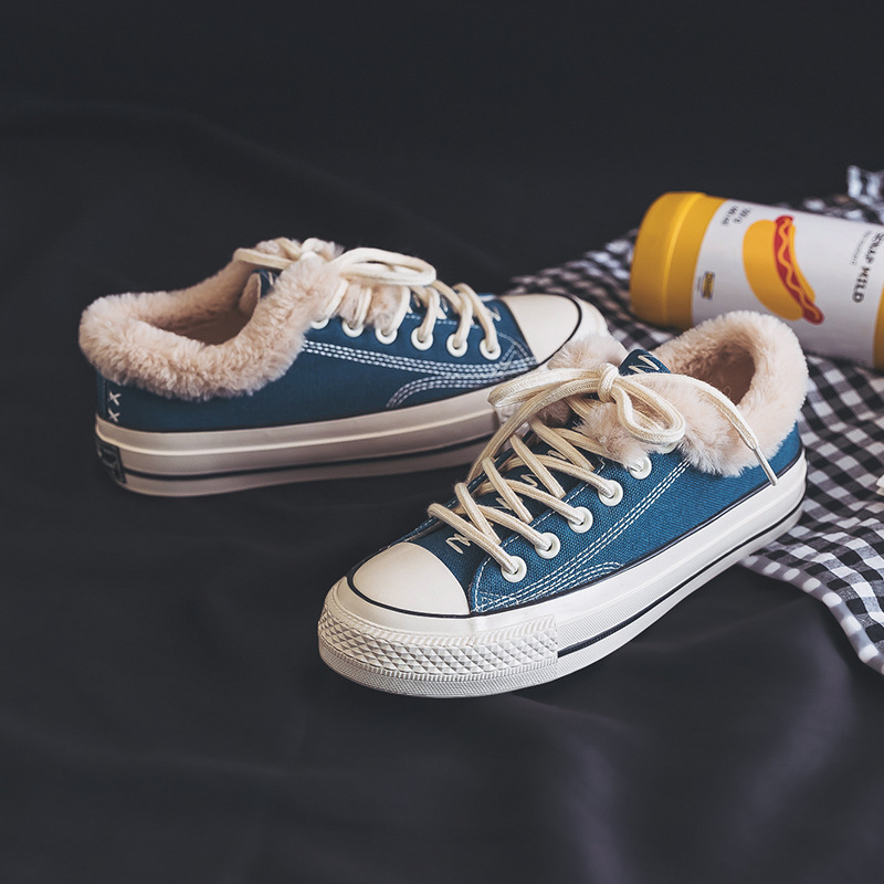 Повседневная парусиновая обувь для женщин джинсовая вулканизации с Мех животных теплые туфли без каблуков зима бархат Джинс - Цвет: blue