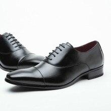 Mens dress shoes leather casual Waterproof  man genuine