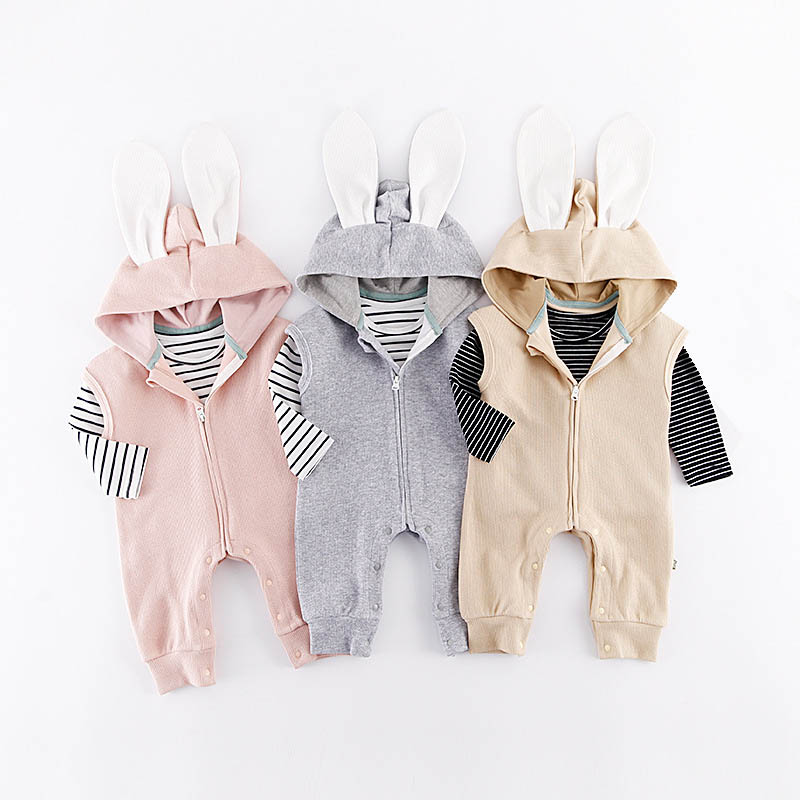 Spring Autumn Baby Clothes Boys Girls Clothing Sets Cute Animal Rabbit Romper+Striped T-shirt 2pcs/set Toddler Girl Costume bear leader baby boys girls sets 2017 autumn baby clothing sets house applique sweatshirt striped pants 2pcs for baby clothes
