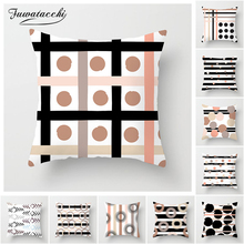 Fuwatacchi Geometric Cushion Cover Plush Throw Pillow Case Striped Dotted Grid Triangular Geometric Art Cushion Cover 2019 New цена в Москве и Питере