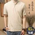 Loose linen shirts men shirt 2016 summer leisure summer youth flax short sleeve shirt