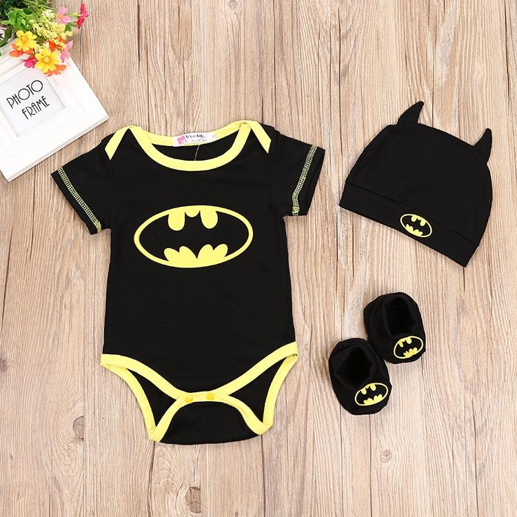Baby Boy   Romper   Batman Triangle Climbing Suit + Hat + Foot Set Three-piece Children's Suit for Baby Black   Romper