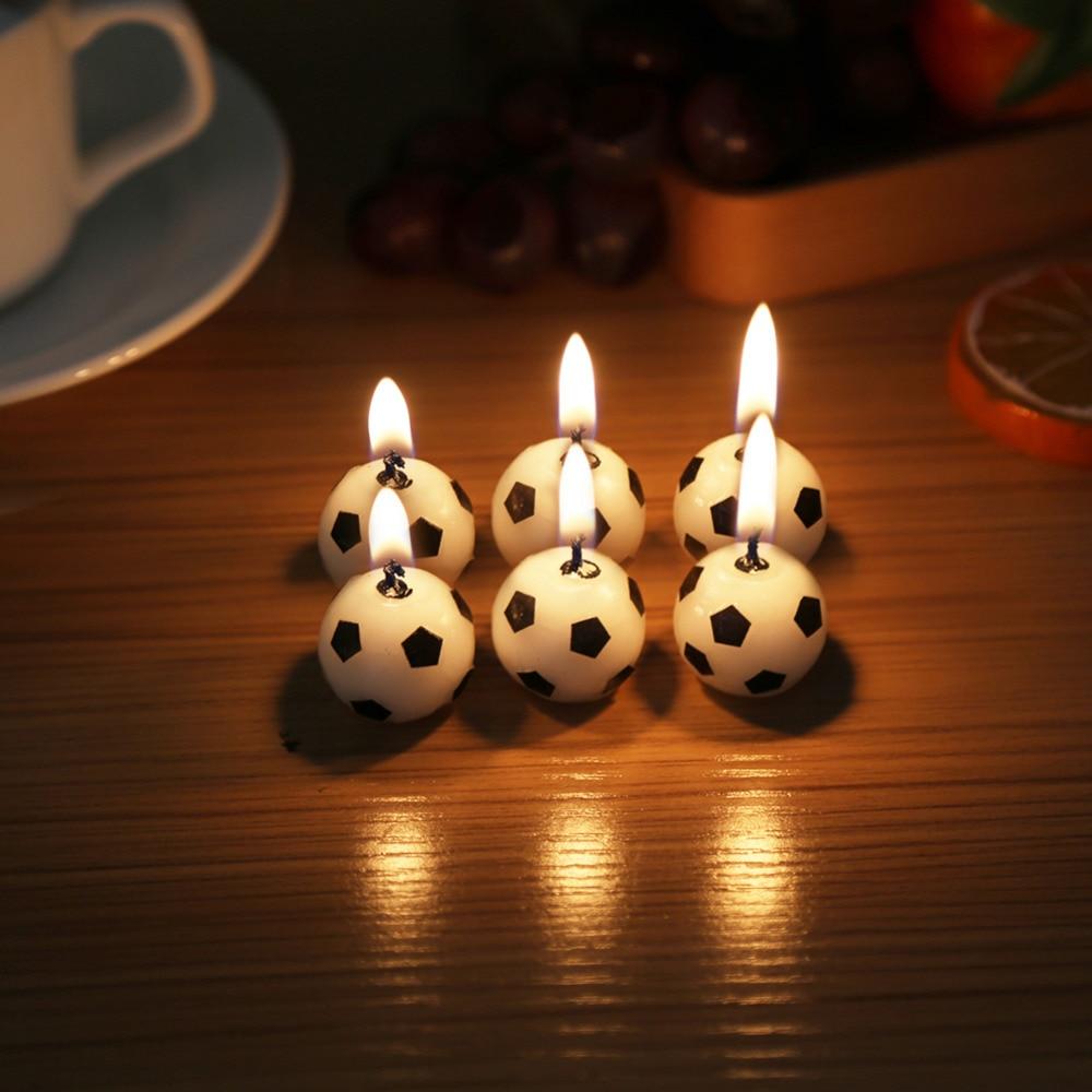 6 шт./лот Футбол свеча дети День Рождения Торт Кекс День Рождения Творческий Baby shower Милый Торт Свечи