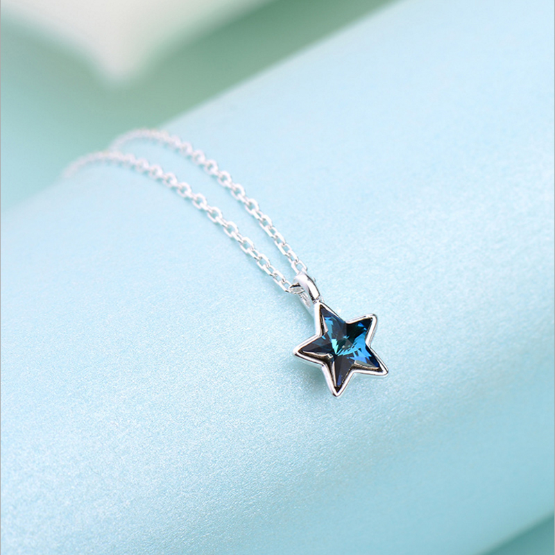 925 Silver Fashion Heart Initial Necklace Golden five-pointed star Letter Necklace Name Jewelry for women accessories