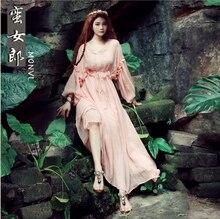 Free ship light pink fairy lantern sleeve long medieveal dress/ gown lolita dress