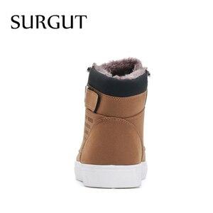 Image 4 - SURGUT Männer Schuhe 2020 Top Mode Neue Winter Vordere Spitze Up Casual Stiefeletten Herbst Schuhe Männer Keil Fell warme Leder Schuhe