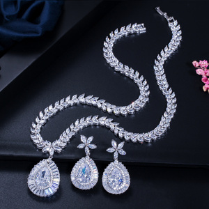 Image 5 - CWWZircons High Quality White Gold Color Cubic Zirconia Paved Big Water Drop Bridal Wedding Necklace And Earring Set T274