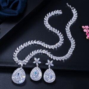 Image 5 - CWWZircons ensemble de boucles doreilles et collier de mariée de haute qualité, couleur or blanc en zircone cubique pavée, grande goutte deau, T274