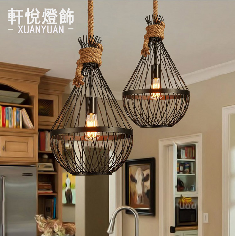 Loft Vintage Rural Pendant Light Hemp Rope Bamboo Iron Cage Pendant Lamp Hand Knitted Lighting Fixture Restaurant Dining ascelina vintage wicker pendant lamp hand knitted hemp rope iron pendant light loft lamps american lighting edison bulb for home
