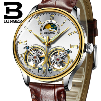 Men Mechanical Watches Switzerland BINGER Luxury Brand Double Tourbillon Wrist Sapphire Waterproof Watch Men Clock Male reloj